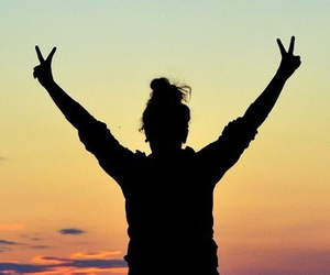 girl, peace, and sunset image
