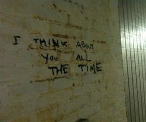 love, think, and wall image
