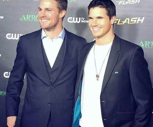 stephen amell, robbie amell, and arrow image