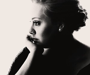 Adele, singer, and black and white image