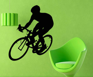 boy room decor, cyclist wall decals, and bicycle rider image