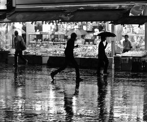 black and white, rain, and street image
