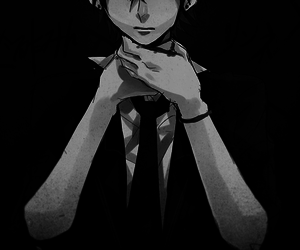 anime, b&w, and black image