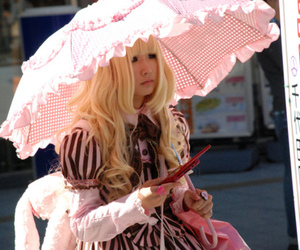 girl, japanese, and pink image