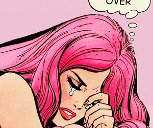 cartoon, cry, and pink hair image
