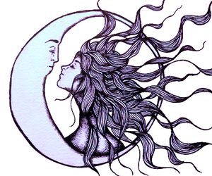 moon, art, and sun image