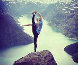 outside, river, and yoga image