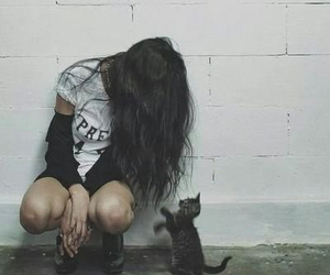 cat, girl, and grunge image