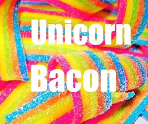 bacon, love, and unicorn bacon image