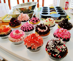 cream, sweets, and cupcake image