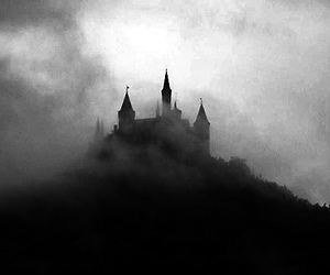 black and white, castle, and clouds image