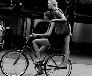 bff, black and white, and bike image