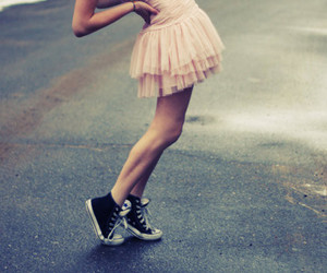 girl, converse, and dress image