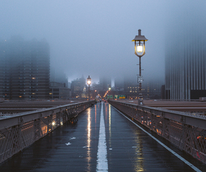 city, rain, and fog image
