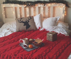 christmas, winter, and bed image