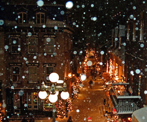 snow, christmas, and street image