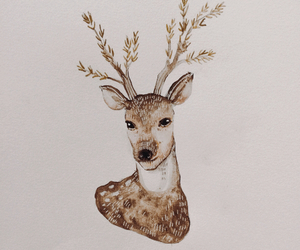 beauty, painting, and deer image