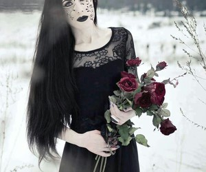 dress, gothic, and hair image