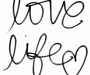 black and white, heart, and handwritten image
