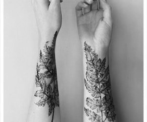 tattoo, hands, and leaves image