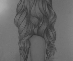 art, black and white, and curly image