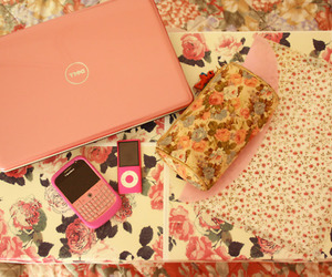 pink, flowers, and ipod image