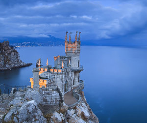 blue, castle, and ocean image