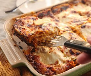 dinner, meal, and lasagna image