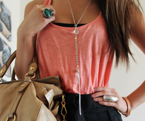 bag, hair, and necklace image