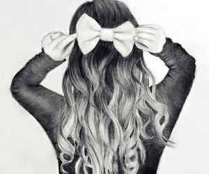 hair, drawing, and bow image