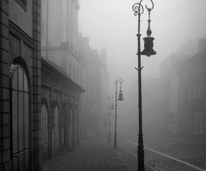 town, city, and fog image