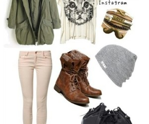 brown boots, green jacket, and over coat image