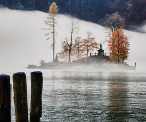 lake, snow, and autumn image