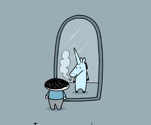 unicorn, mirror, and badass image