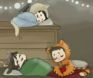 dean, Sam, and sleeping image