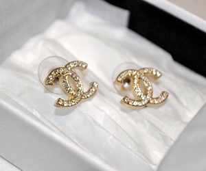 chanel, earrings, and gold image