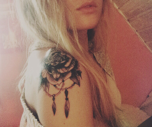 ink, inked, and rose tattoo image