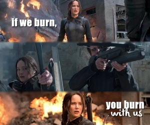 fire, katniss, and mockingjay image