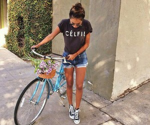 bike, city, and girls image