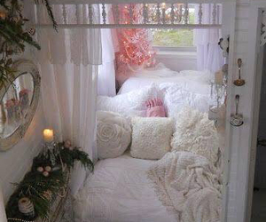 bed, design, and fairy lights image