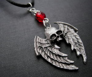 gothic jewelry and winged skull necklace image