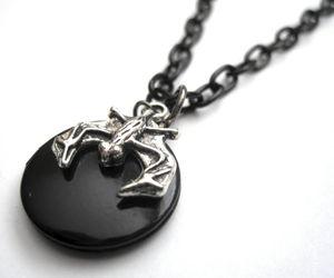 bat, gothic jewelry, and locket necklace image