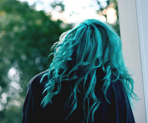 blue hair, curl, and cabelo colorful image