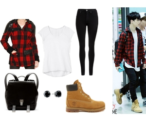 checkered, kpop, and timberlands image