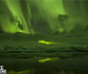 aurora, beautiful, and ice image