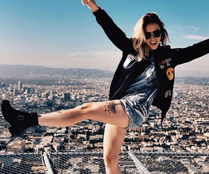 girl, city, and fun image