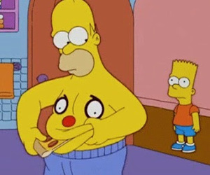 homer, pizza, and simpsons image
