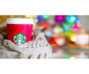 starbucks, christmas, and scarf image