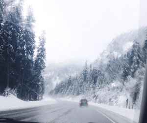 car, snow, and trees image
