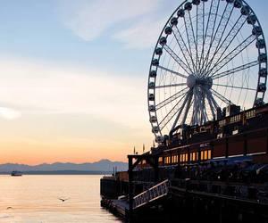 city, ferris wheel, and fun image